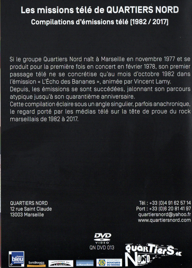 Quartiers Nord, DVD Les missions télé, compilation d'émissions télé 1982 / 2017 (verso)
