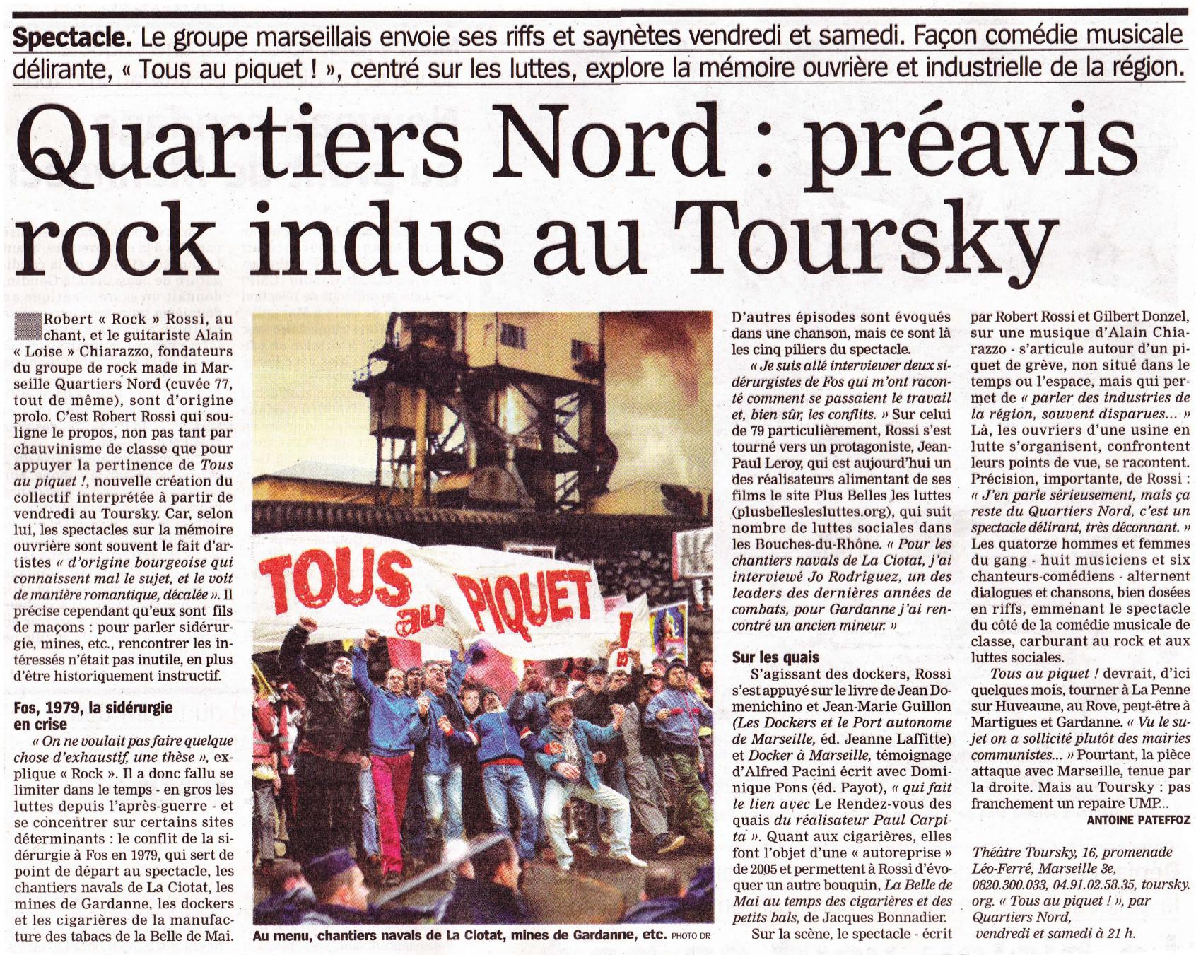 Quartiers Nord, spectacle Tous au piquet ! Presse, La Marseillaise 9 janvier 2014