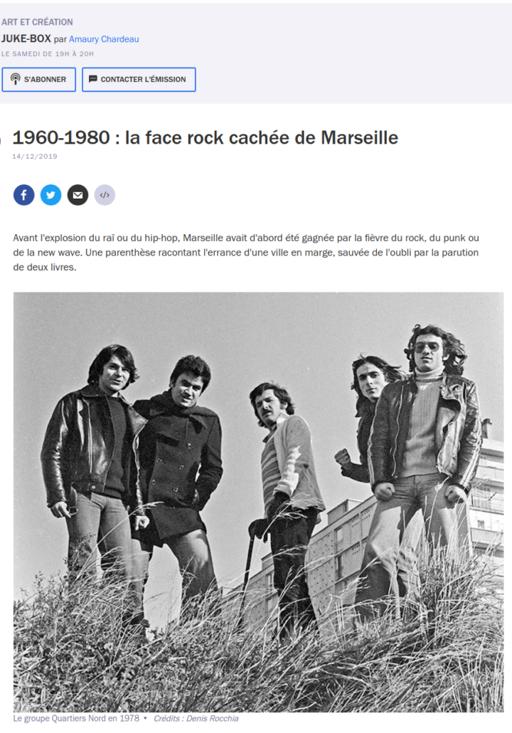 France Culture Juke-Box 1960-1980, la face rock cachée de Marseille, 14 décembre 2019
