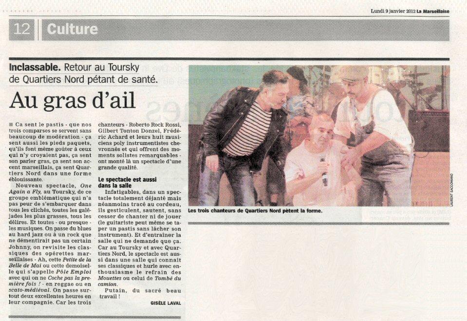 Quartiers Nord, spectacle One Again A Fly, presse La Marseillaise 9 janvier 2012