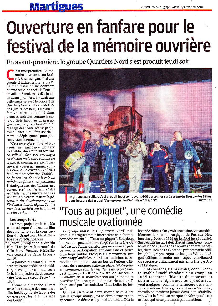 Quartiers Nord, spectacle Tous au piquet ! Presse, La Provence 26 avril 2014
