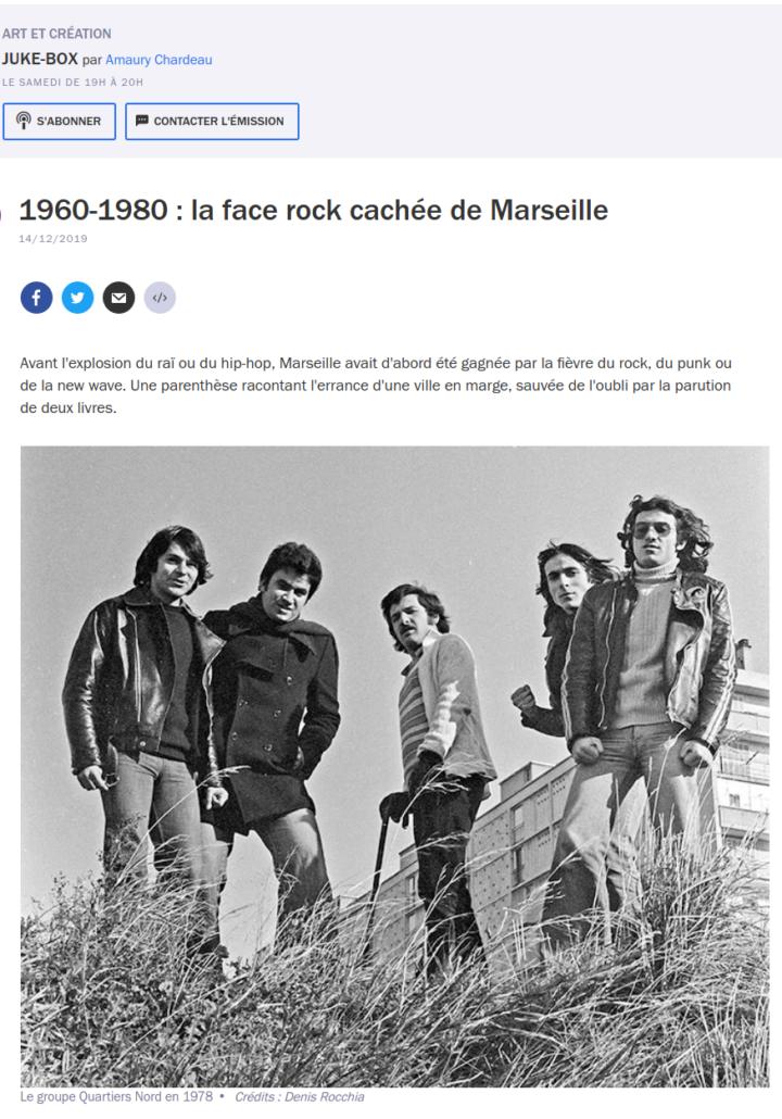 France Culture Juke-Box 1960-1980, la face rock cachée de Marseille, 14 décembre 2019