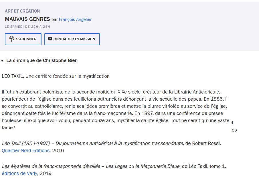 France Culture, Mauvais Genres, Léo Taxil, 9 novembre 2019